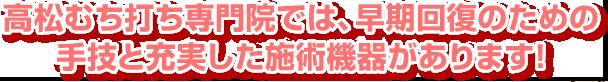 高松むち打ち.comでは、早期回復のための手技と充実した施術機器があります!